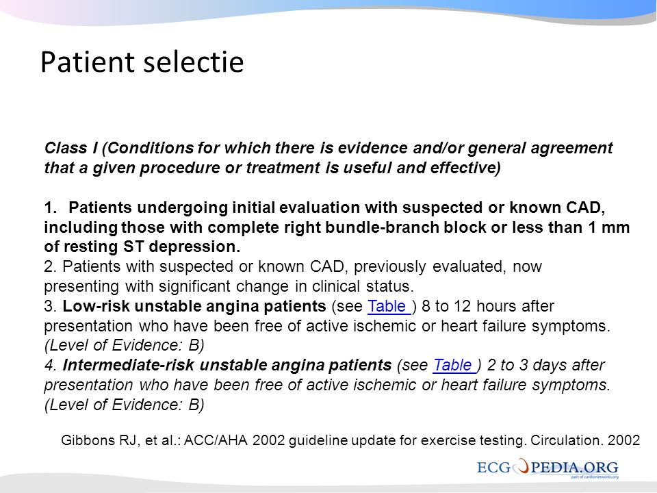 Patient selectie Class I (Conditions for which there is evidence and/or general agreement.