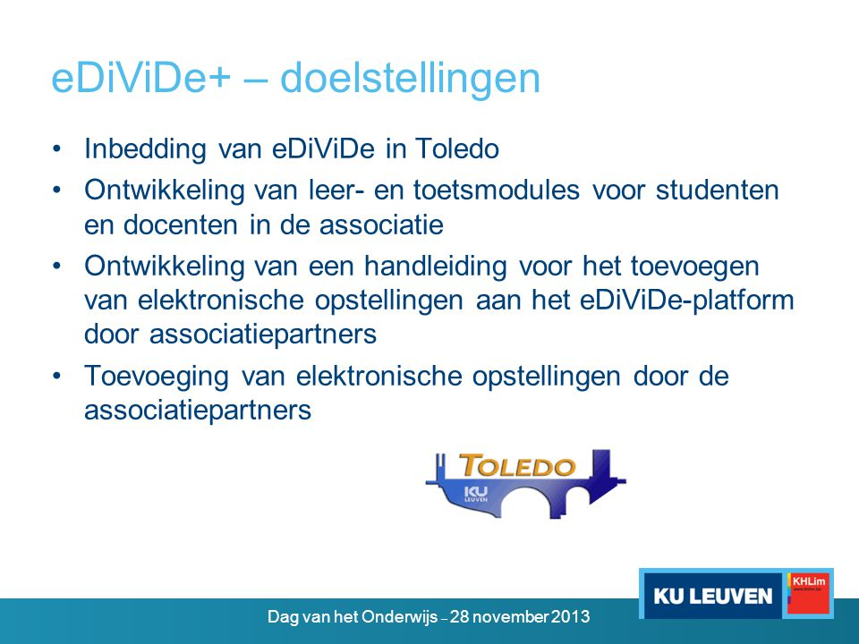 eDiViDe+ – doelstellingen