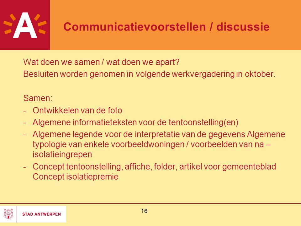 Communicatievoorstellen / discussie