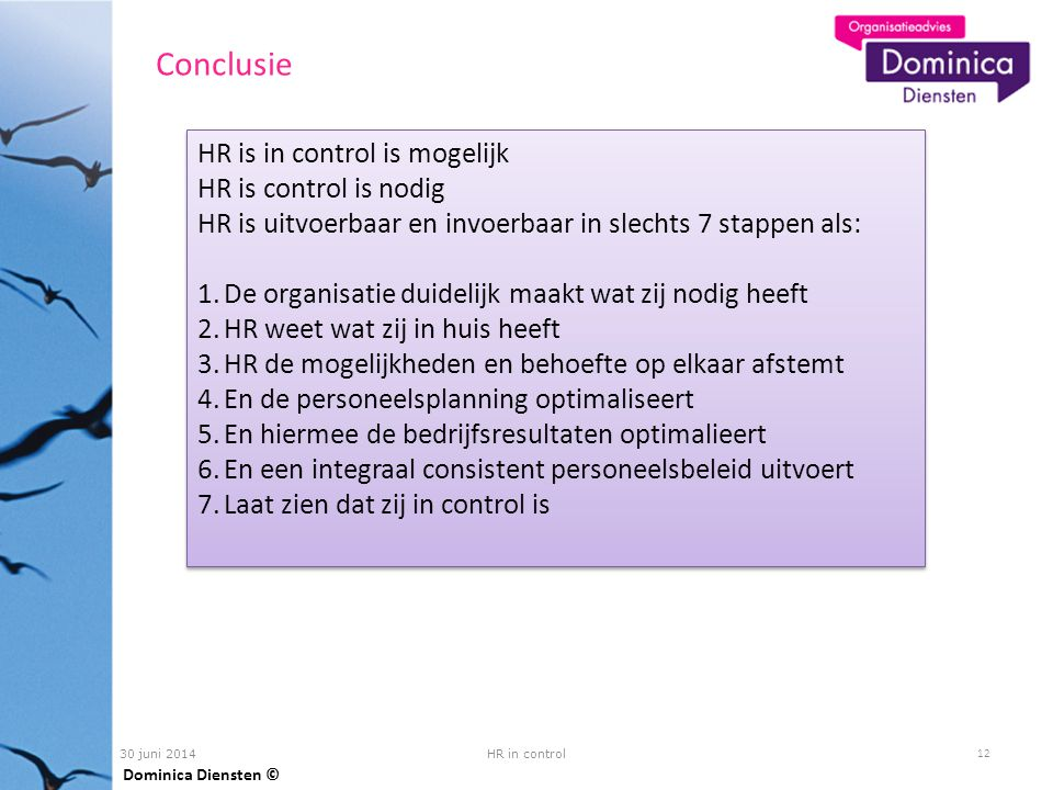 Conclusie HR is in control is mogelijk HR is control is nodig