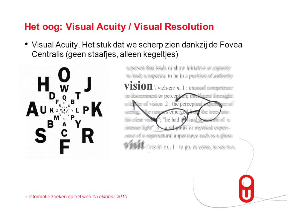 Het oog: Visual Acuity / Visual Resolution