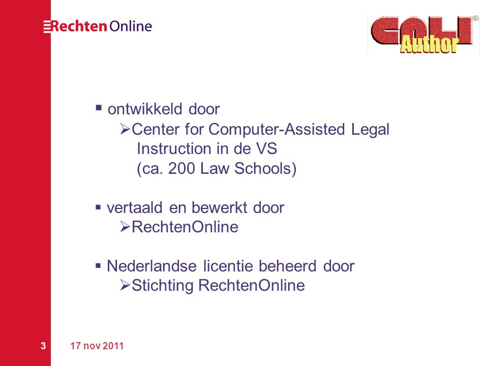 ontwikkeld door Center for Computer-Assisted Legal