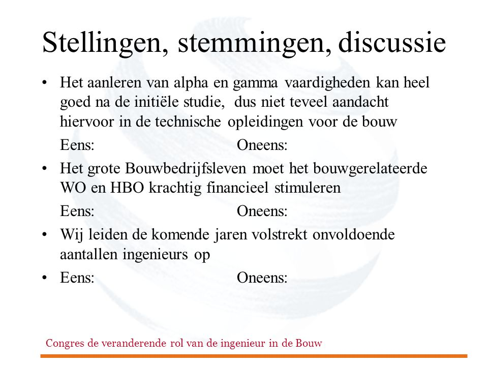 Stellingen, stemmingen, discussie