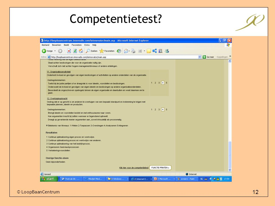 Competentietest © LoopBaanCentrum