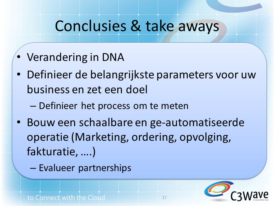 Conclusies & take aways