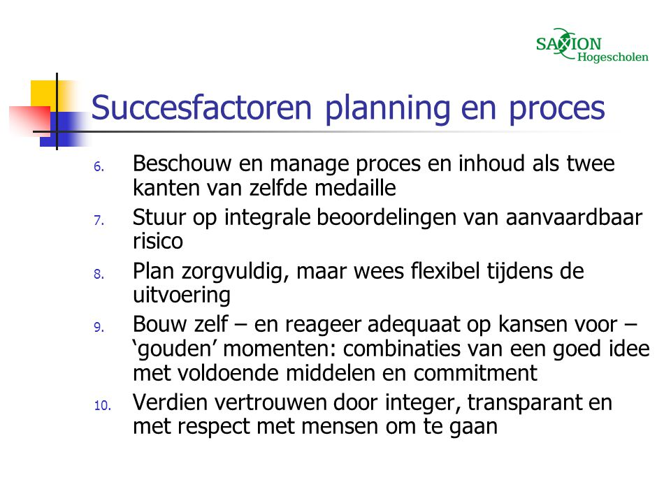 Succesfactoren planning en proces