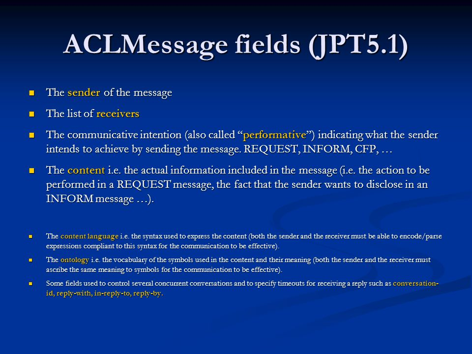 ACLMessage fields (JPT5.1)