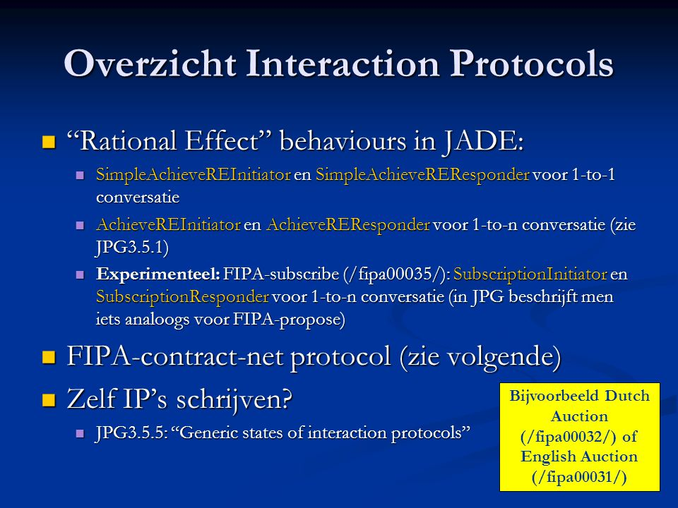 Overzicht Interaction Protocols