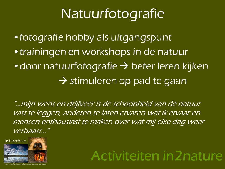 Activiteiten in2nature