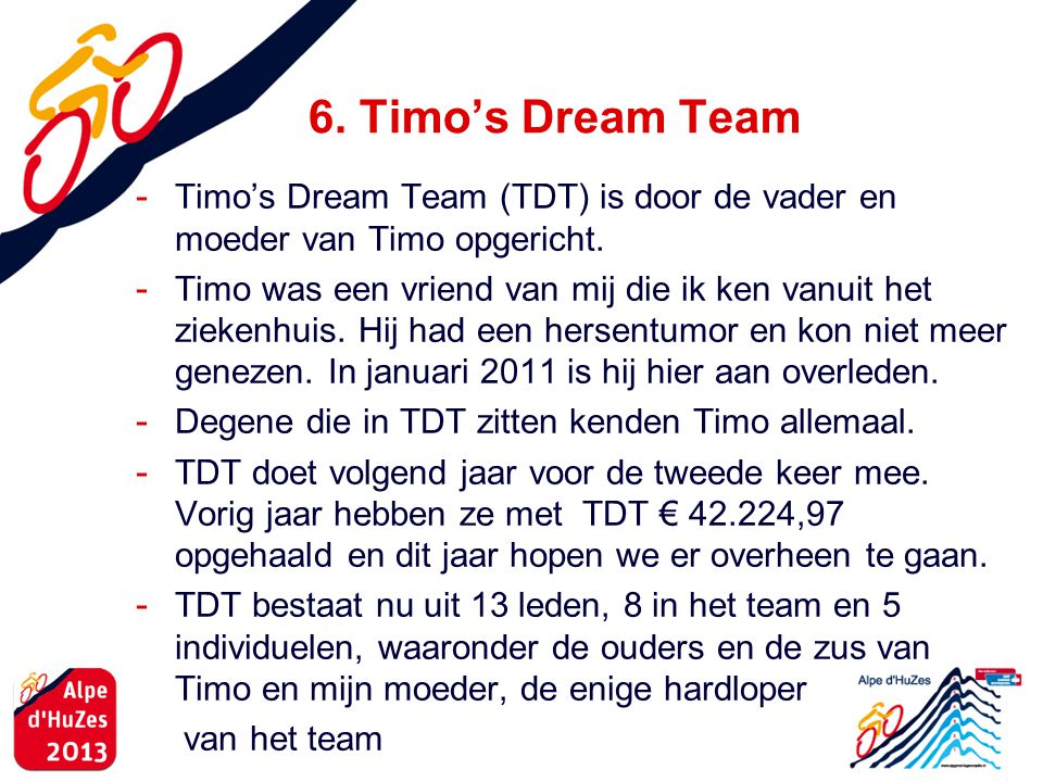 6. Timo's Dream Team Timo's Dream Team (TDT) is door de vader en moeder van Timo opgericht.