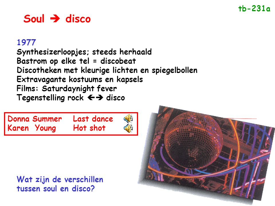 Soul  disco tb-231a 1977 Synthesizerloopjes; steeds herhaald