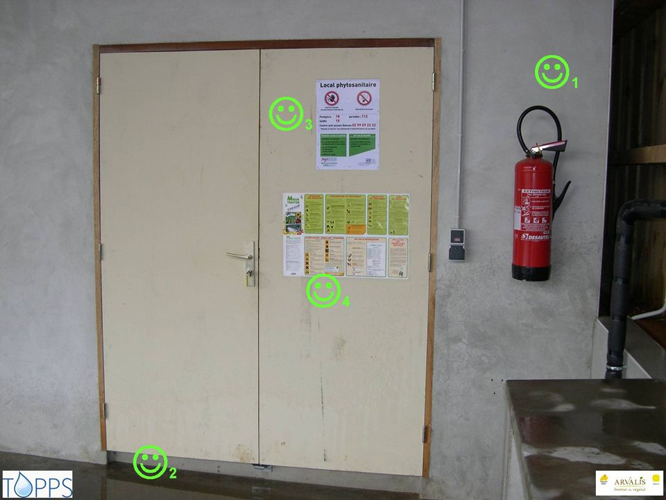 1: Fire extinguisher 2: Barrier to prevent spills leacking out of the storage room. 3: Emergency telephone numbers.