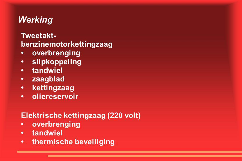 Werking Tweetakt- benzinemotorkettingzaag • overbrenging