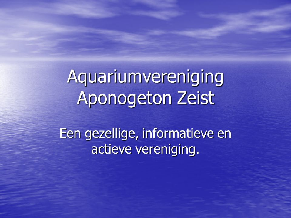 Aquariumvereniging Aponogeton Zeist