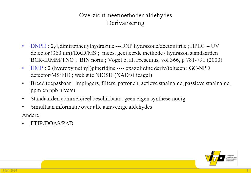 Overzicht meetmethoden aldehydes Derivatisering