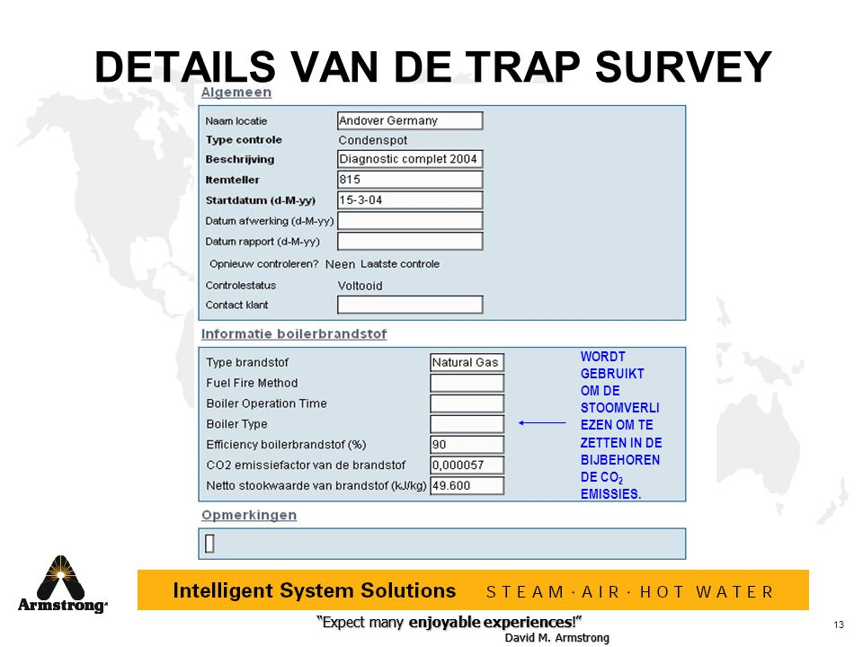 DETAILS VAN DE TRAP SURVEY