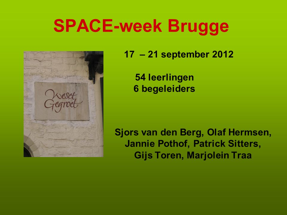 SPACE-week Brugge 17 – 21 september leerlingen 6 begeleiders
