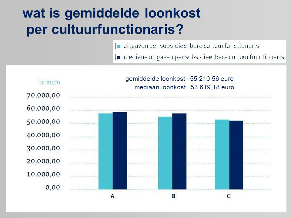 wat is gemiddelde loonkost per cultuurfunctionaris