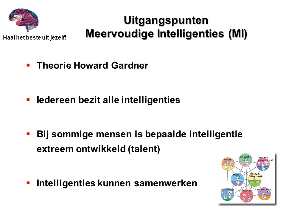 Uitgangspunten Meervoudige Intelligenties (MI)
