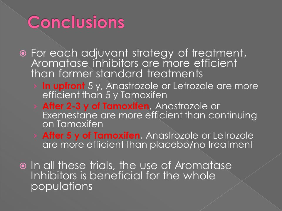 Conclusions For each adjuvant strategy of treatment, Aromatase inhibitors are more efficient than former standard treatments.