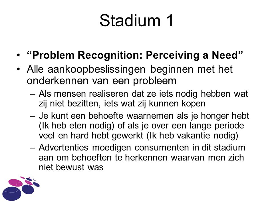 Stadium 1 Problem Recognition: Perceiving a Need