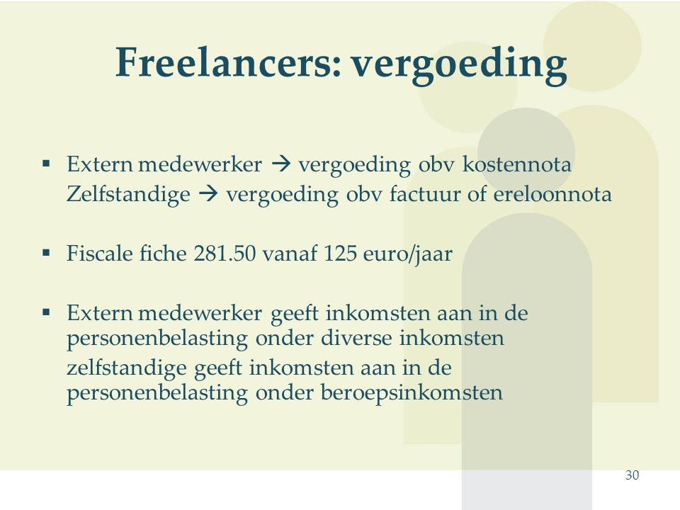 Freelancers: vergoeding