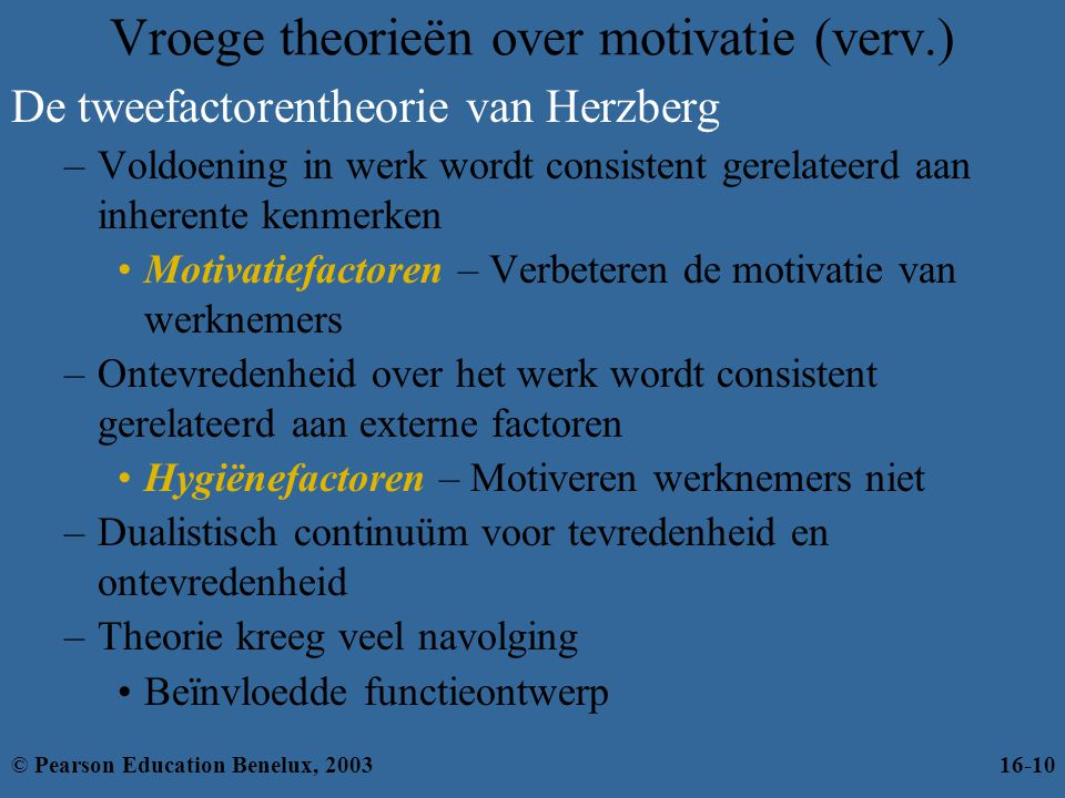 Vroege theorieën over motivatie (verv.)