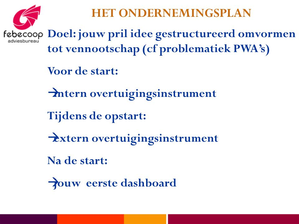 doel ondernemingsplan Kennismaken Peter Bosmans Gedelegeerd bestuurder Febecoop  doel ondernemingsplan