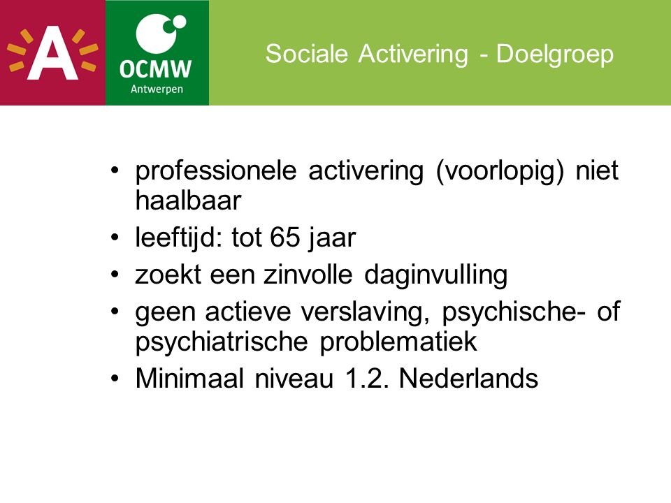 Sociale Activering - Doelgroep