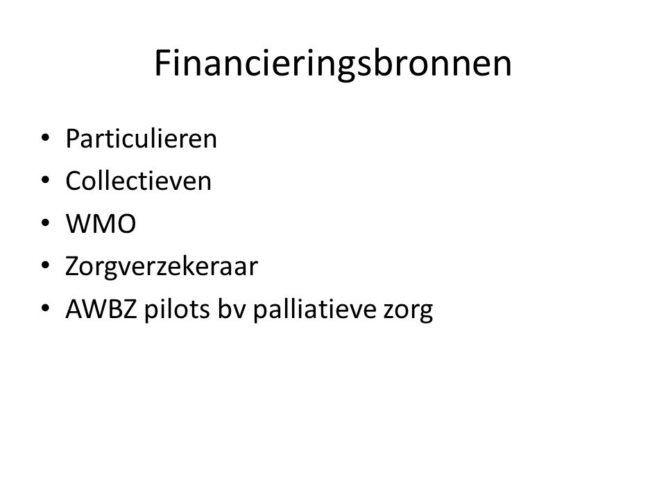 Financieringsbronnen