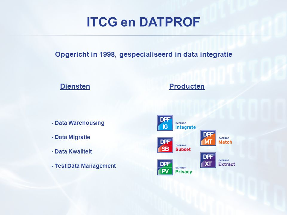 Opgericht in 1998, gespecialiseerd in data integratie