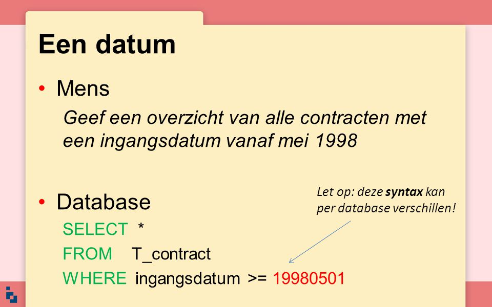 Een datum Mens Database