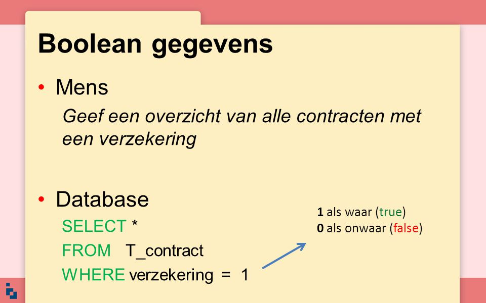 Boolean gegevens Mens Database