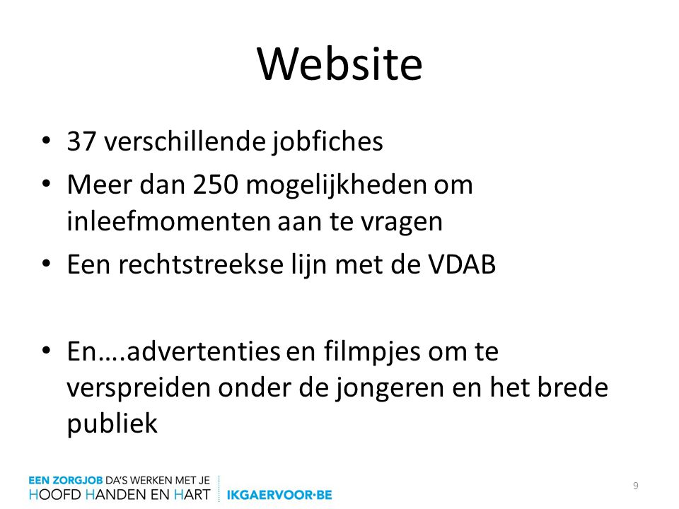 Website 37 verschillende jobfiches