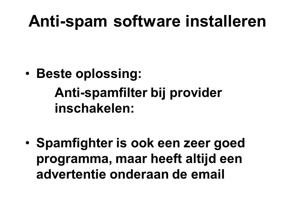 Anti-spam software installeren