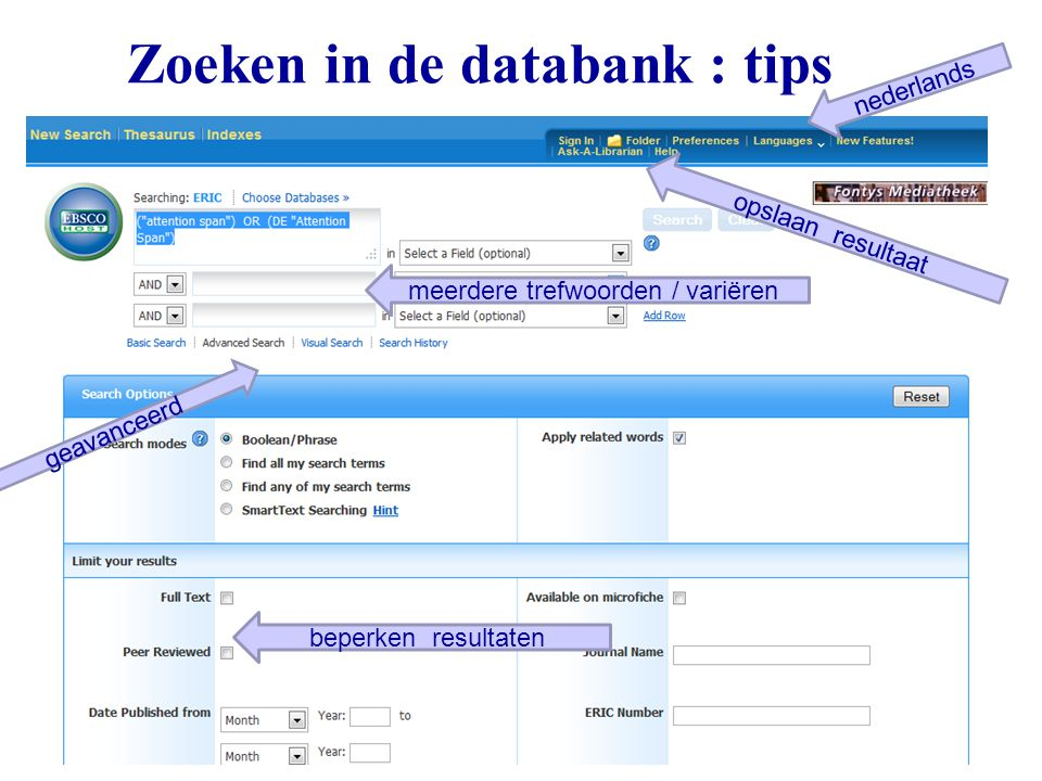 Zoeken in de databank : tips