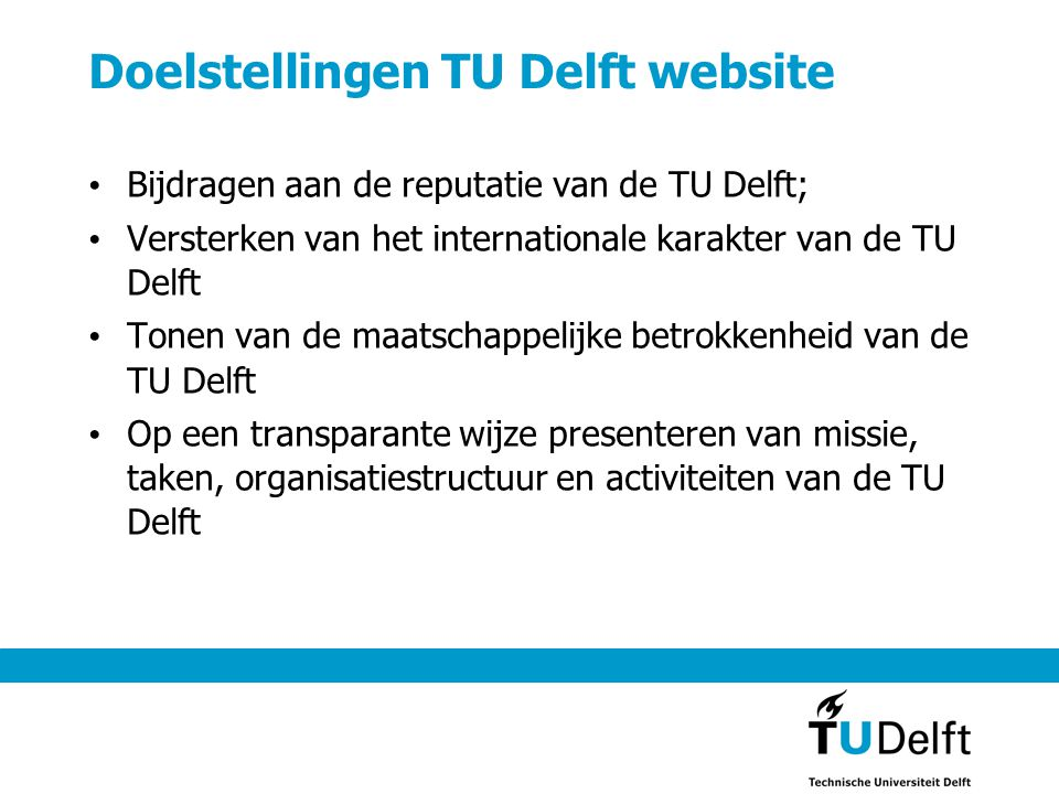 Doelstellingen TU Delft website
