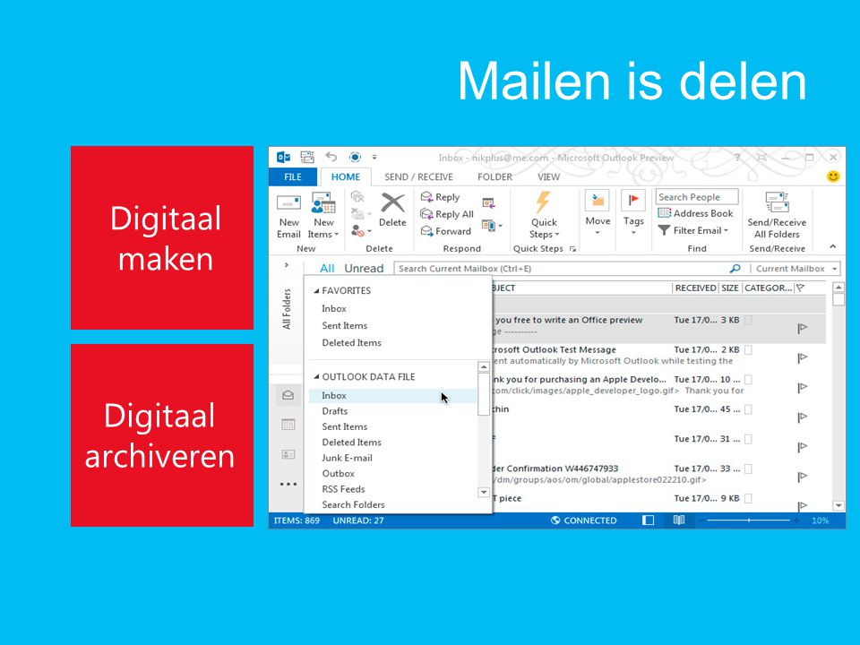 Mailen is delen Digitaal maken Digitaal archiveren