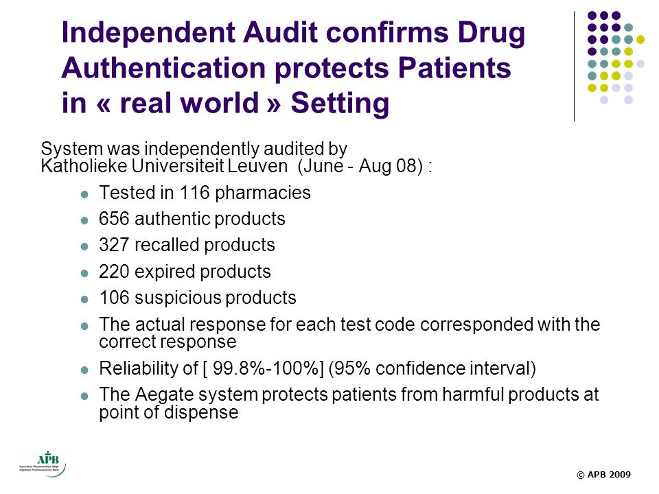 Independent Audit confirms Drug Authentication protects Patients in « real world » Setting