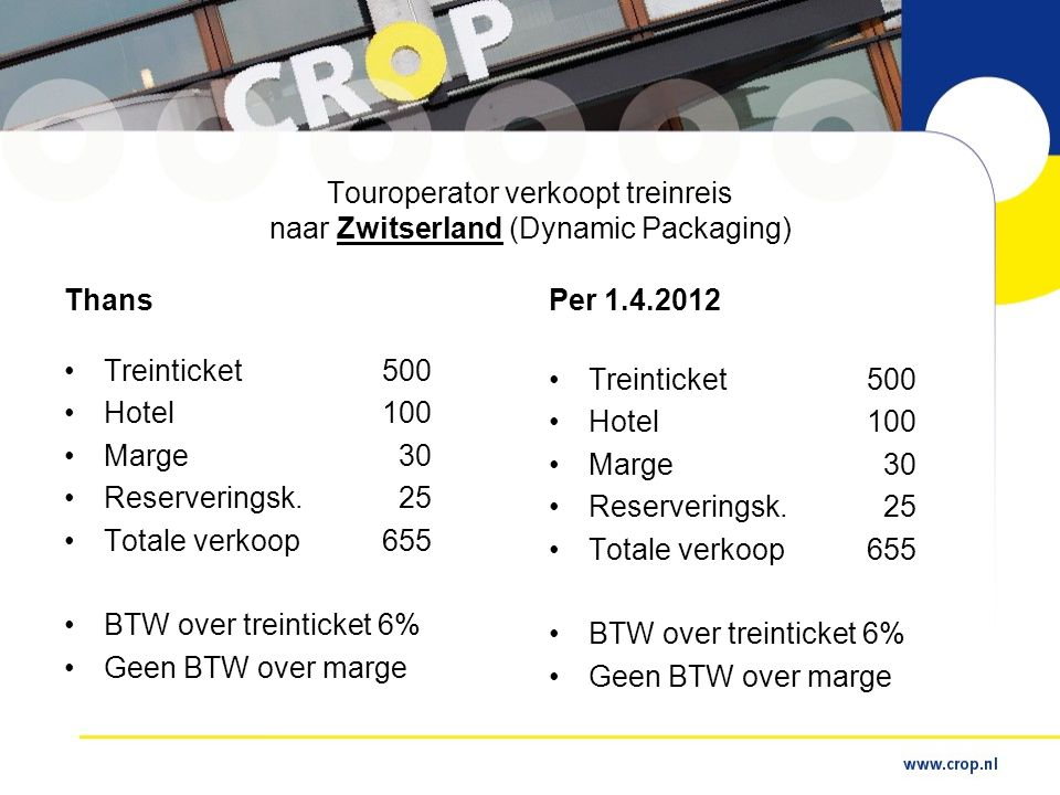 Touroperator verkoopt treinreis naar Zwitserland (Dynamic Packaging)