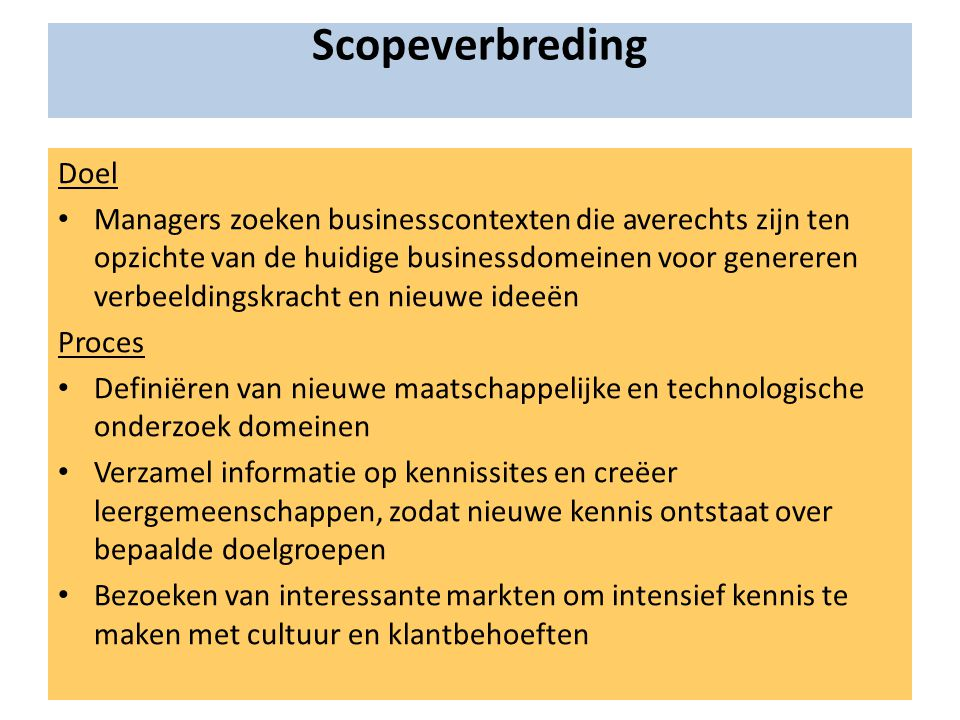 Scopeverbreding Doel.