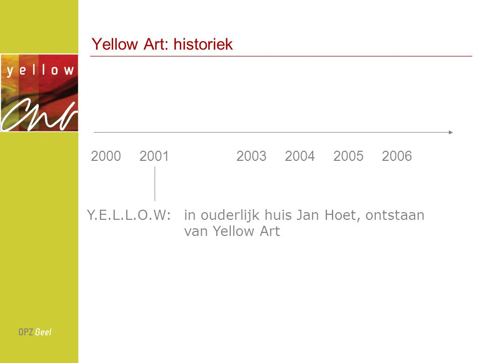 Yellow Art: historiek 2000 2001 2003 2004 2005 2006.