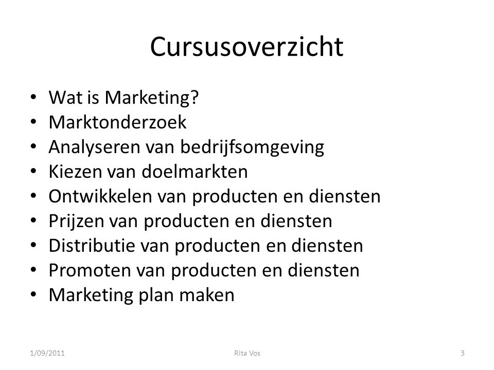 Cursusoverzicht Wat is Marketing Marktonderzoek