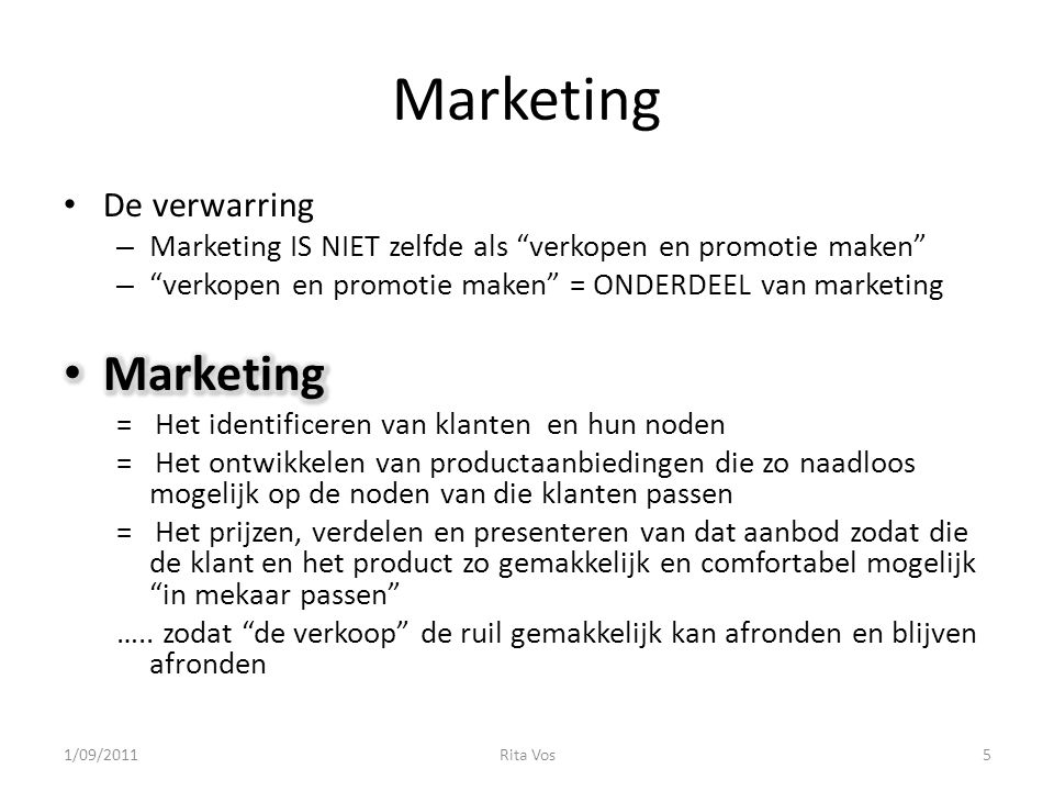 Marketing Marketing De verwarring