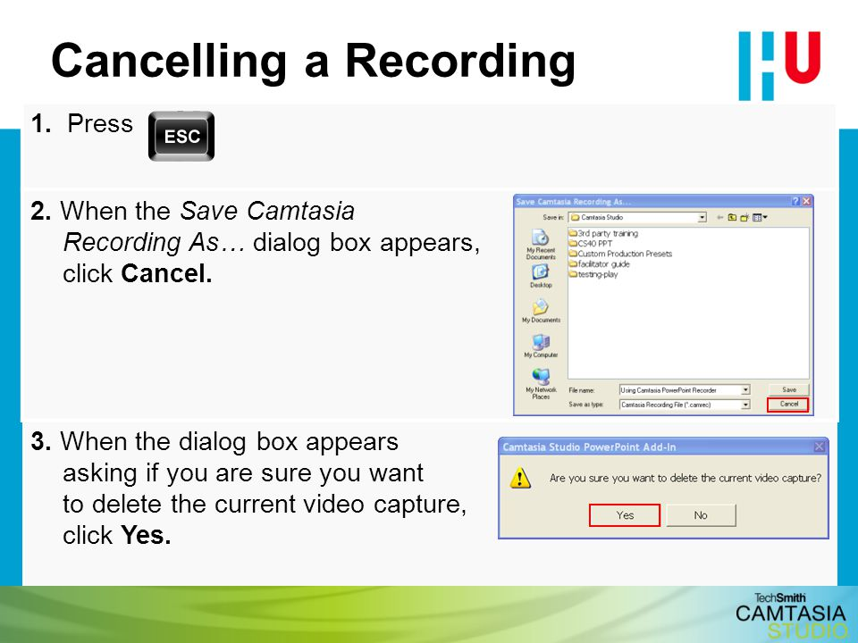 Cancelling a Recording
