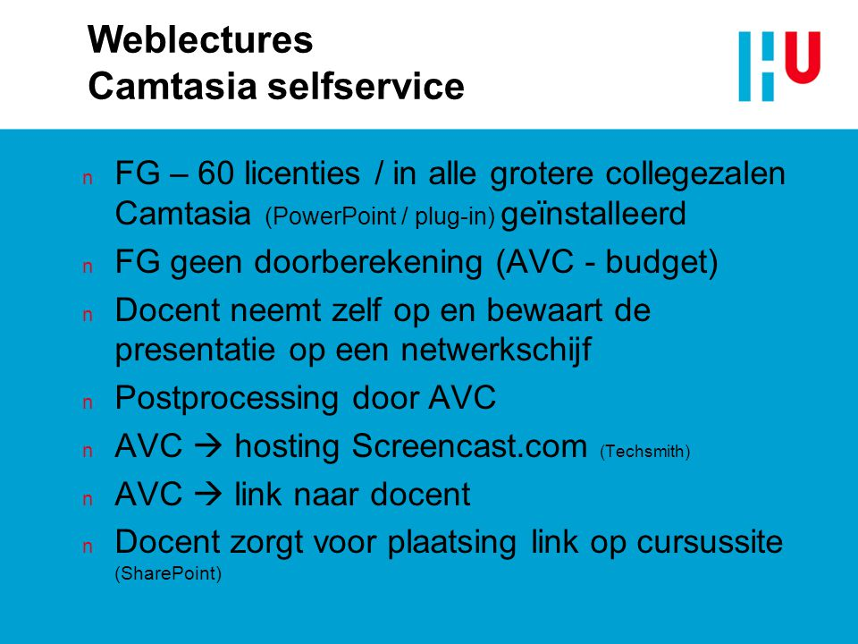 Weblectures Camtasia selfservice