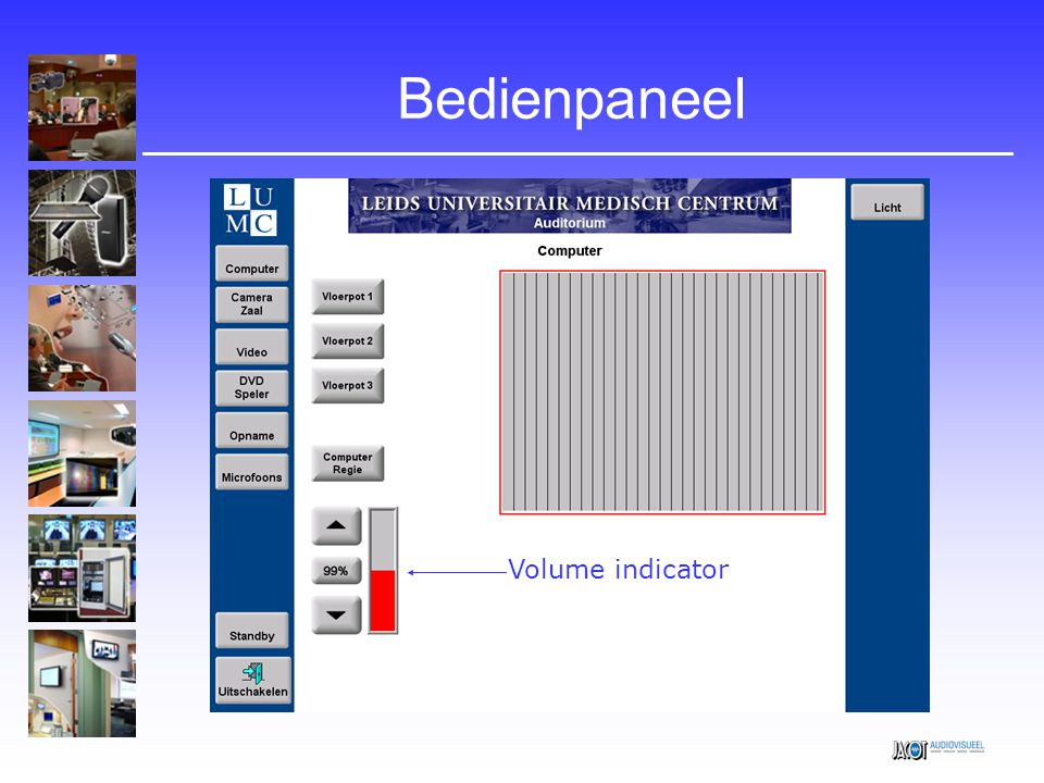 Bedienpaneel Volume indicator
