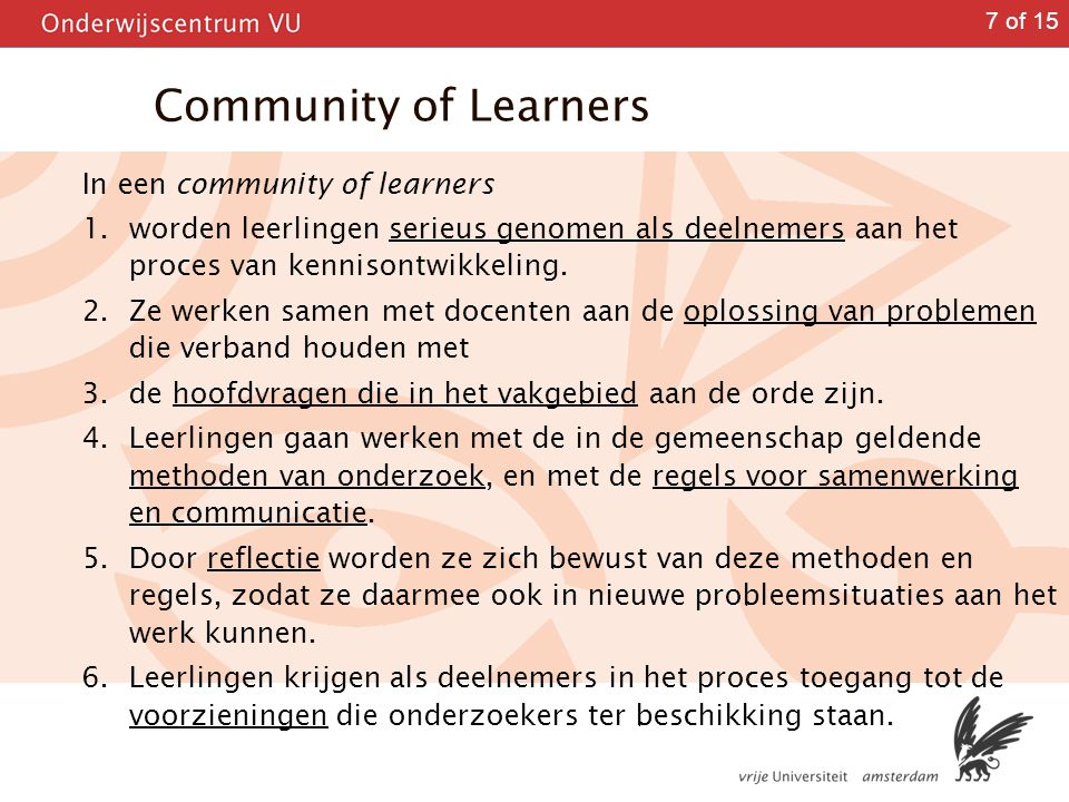 Community of Learners In een community of learners