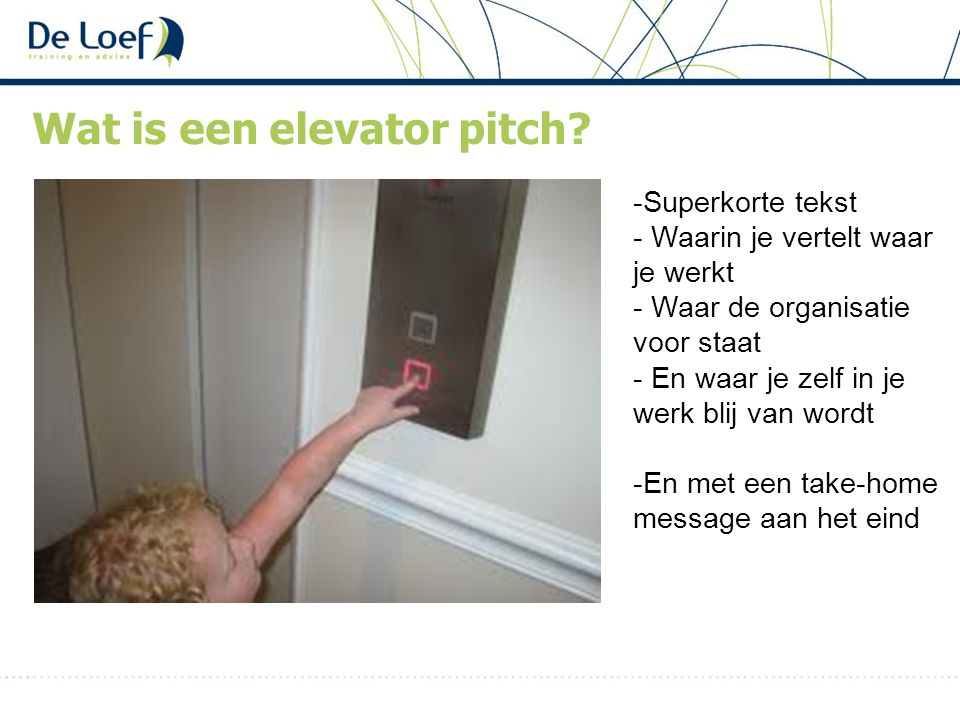 Wat is een elevator pitch