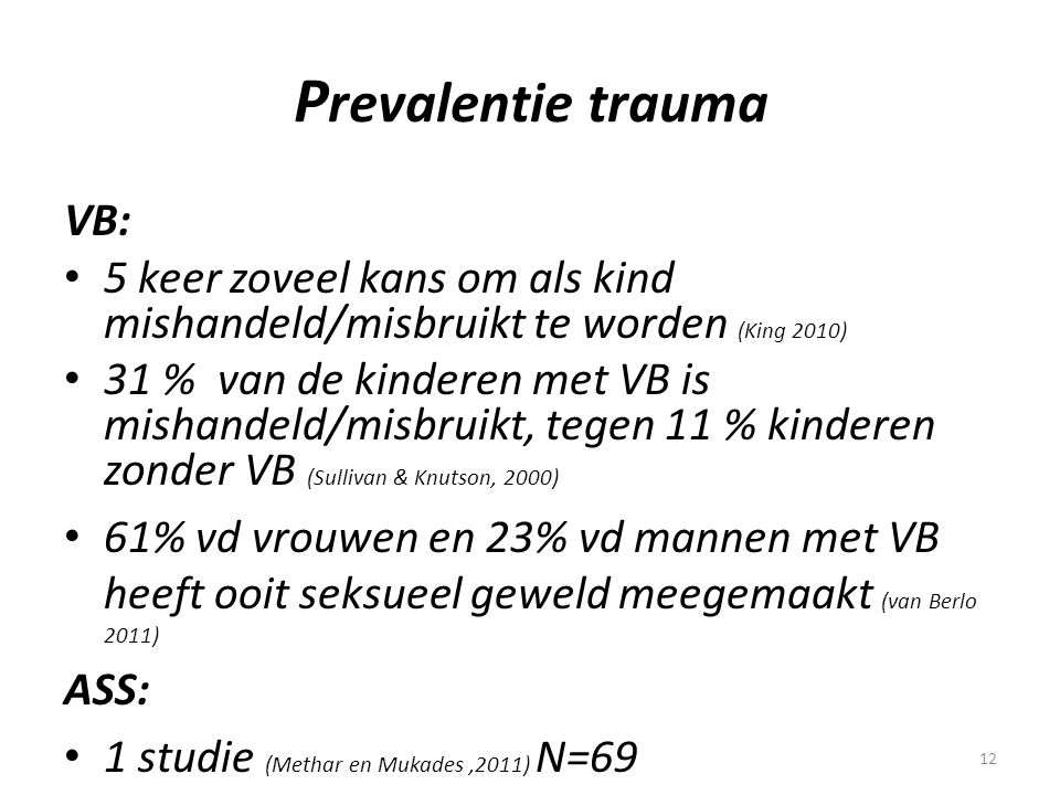 Prevalentie trauma VB: